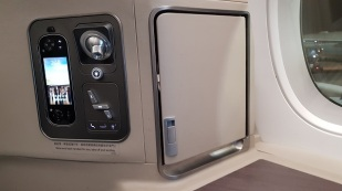 Cathay Pacific Business Class Airbus A350 Review Seat 20A Storage 3