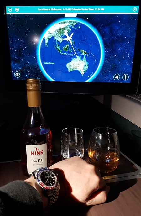 Cathay Pacific CX105 Business Class A350 Hong Kong to Melbourne Review In Flight Menu Hine Rare Cognac