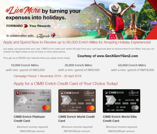 CIMB Enrich Credit Card FREE Enrich Miles Promo 2019