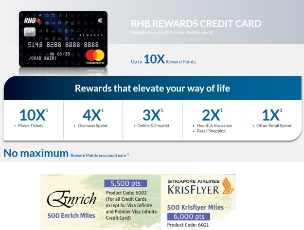 rhb rewards credit cards 10x points