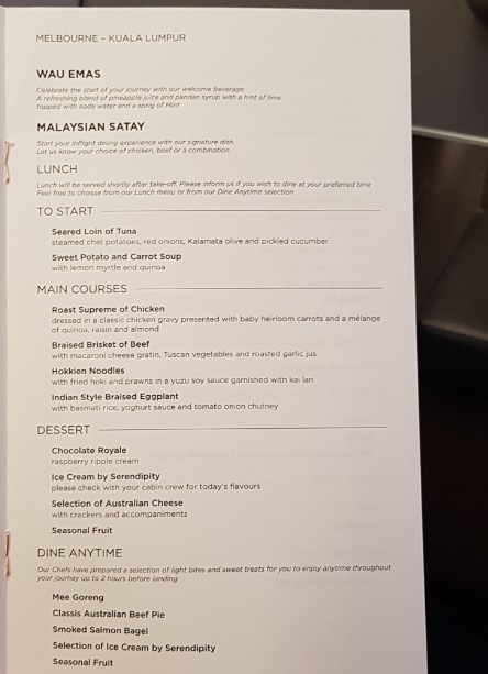 Malasia Airlines Business Class In Flight Menu Kl to Melbourne 2