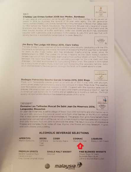 Malasia Airlines Business Class In Flight Menu Kl to Melbourne 3