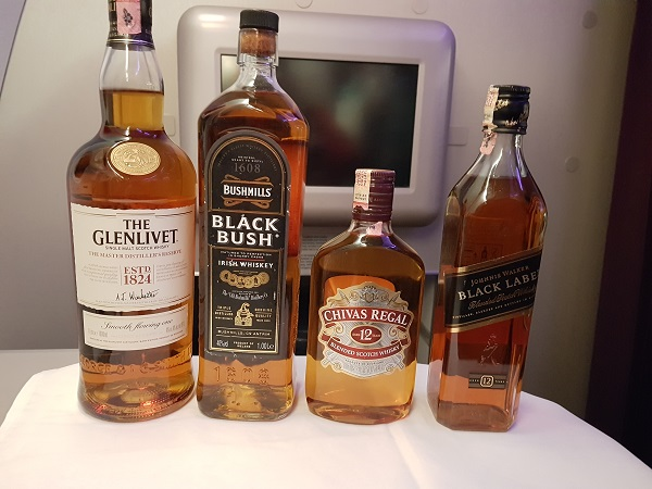 Malaysia Airlines Business Class whisky selection.jpg