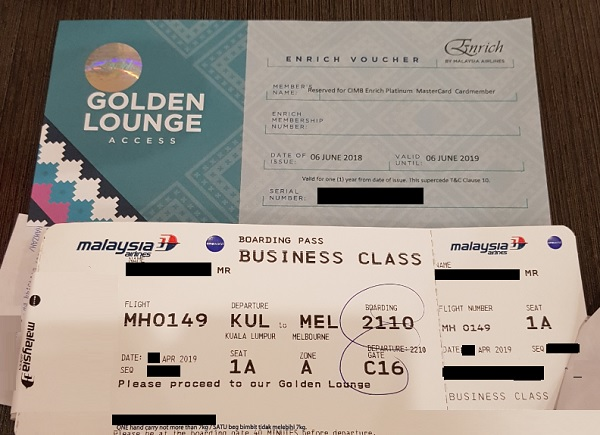 Malaysia Airlines Golden Lounge Access with CIMB Enrich Voucher
