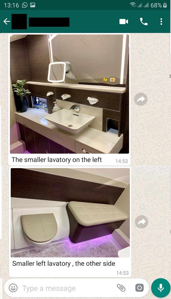 Singapore Airlines New Suite SQ317 London to Changi April 2019 Toilet 1.jpg