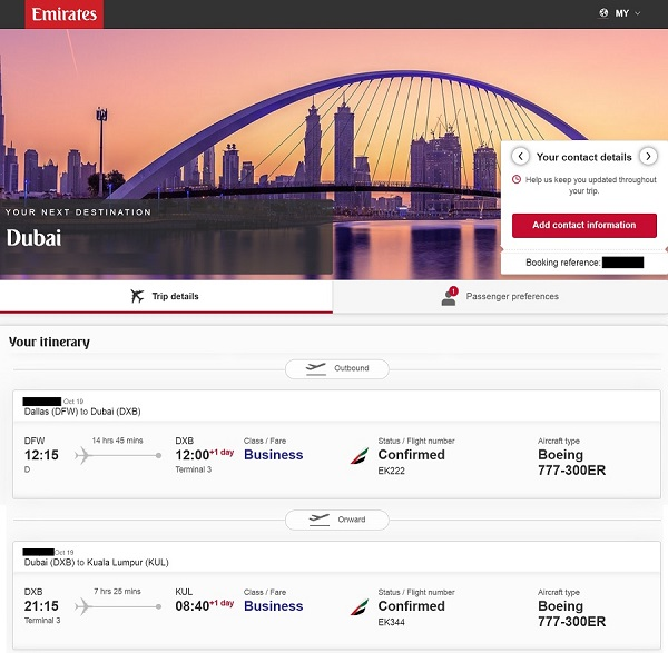 Emirates USA to KL Oct 2019