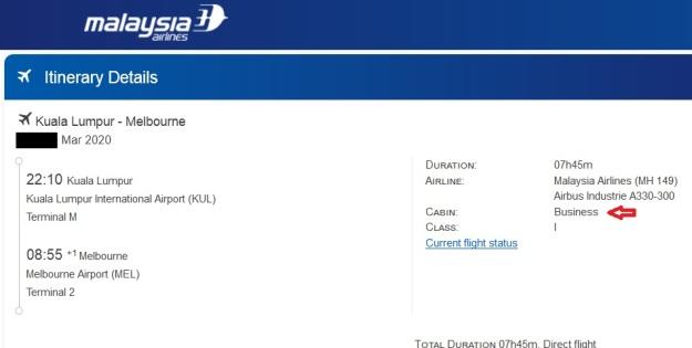 MAS Business Class Mar 2020 KL to MEL