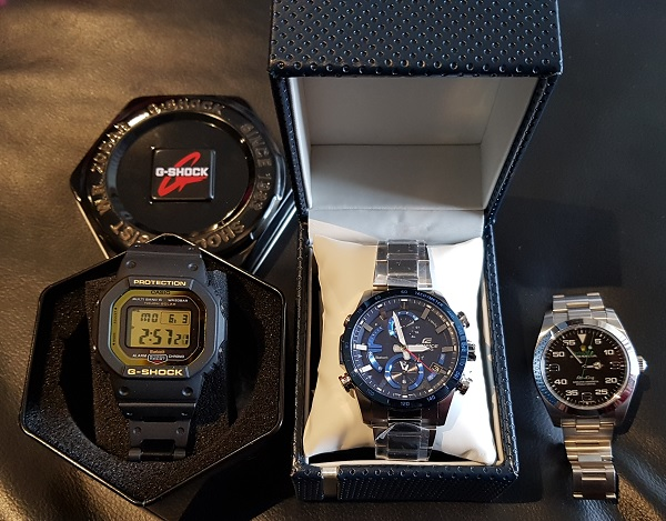 Casio G-Shock GW-B5600BC-1  versus Edifice EQB-900DB versus Rolex Air King.jpg