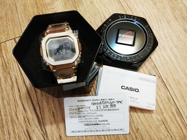 G Shock GMW B5000GD-9 Gold Metal Bluetooth Solar Rear Malaysia Warranty Card