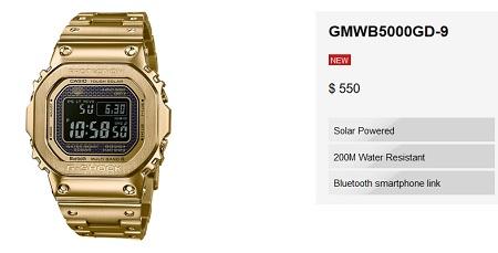 G Shock GMW-B500GD-9 Price USA