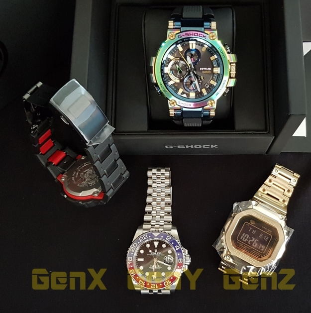 G-Shock MTG-B1000RB Rainbow Limited Edition GMW-B5000GD-9 and GW-B5600 Red versus Rolex GMT Master II Pepsi.jpg