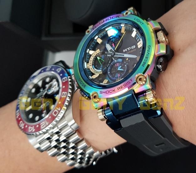 G-Shock MTG-B1000RB Rainbow Limited Edition versus Rolex GMT Master II Pepsi 3