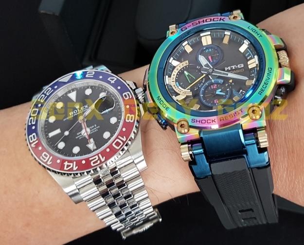 G-Shock MTG-B1000RB Rainbow Limited Edition versus Rolex GMT Master II Pepsi 6