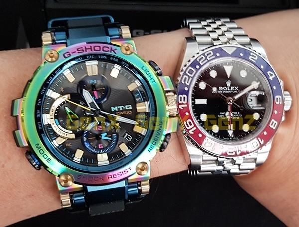 G-Shock MTG-B1000RB Rainbow Limited Edition versus Rolex GMT Master II Pepsi 9