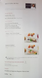 Japan Airlines Business Class Menu Tokyo to Melbourne 6