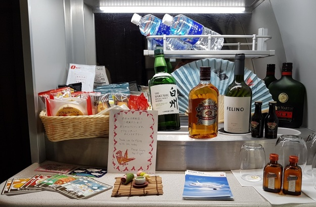 Japan Airlines Business Class Sky Suite Mini Bar Tokyo to Melbourne 1