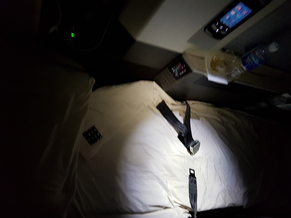 Japan Airlines Sky Suite Business Class Seat 1C Bed 1