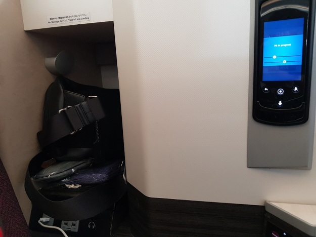 Japan Airlines Sky Suite Business Class Seat 1C Storage