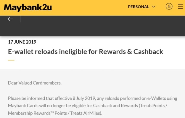 Maybank Credit Card Revision july 2019