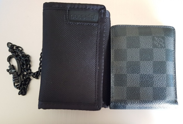 PacSafe RFIDsafe Z50 RFID blocking tri-fold wallet versus Louis Vuitton canvas wallet