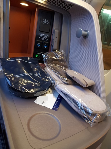 Singapore Airlines Business Class Brisbane to Singapore Aibus A350 Bulk Head Seat 11A Side Storage.jpg