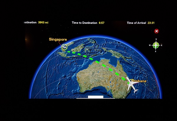 Singapore Airlines Business Class Brisbane to Singapore Aibus A350 Map