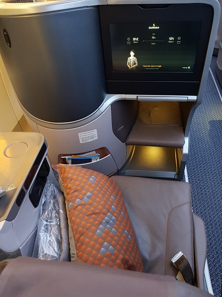 Singapore Airlines Business Class Brisbane to Singapore Aibus A350 Seat 3