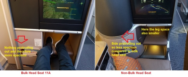 Singapore Airlines NEW A350-900 Builk Head versus standard Business Class Seat review.jpg