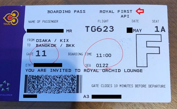 Thai Airways First Class Review Boarding Pass
