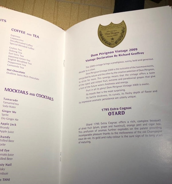 Thai Airways Royal First Class Airbus A380 Review Food and Drinks 1