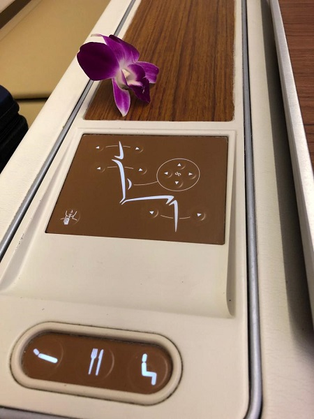Thai Airways Royal First Class Airbus A380 Review Seat 1A Controls