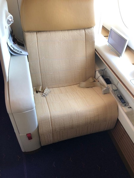 Thai Airways Royal First Class Airbus A380 Review Seat 1A Wide