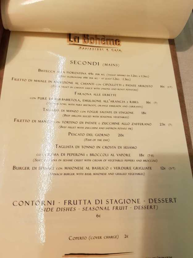 Florence Best Restaurants La Boheme Menu 1.jpg