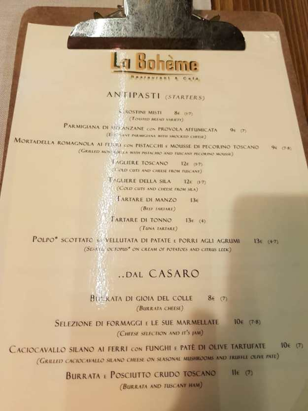 Florence Best Restaurants La Boheme Menu 2