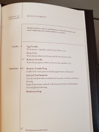Menu Singapore Airlines Suite Class London to Singapore 3