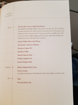 Menu Singapore Airlines Suite Class London to Singapore 5