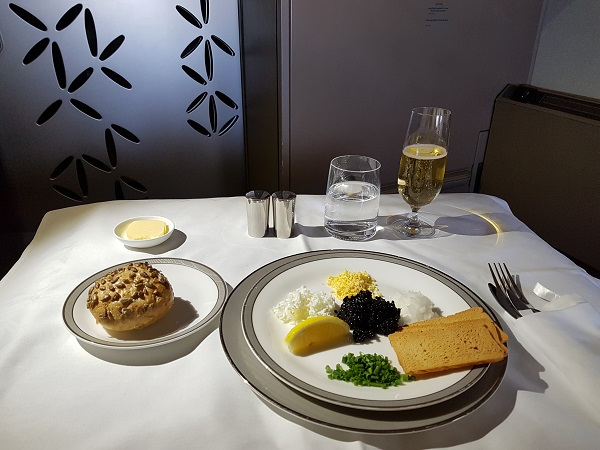 Singapore Airlines Airbus A380 Suite Class London to Singapore Caviar and Champagne