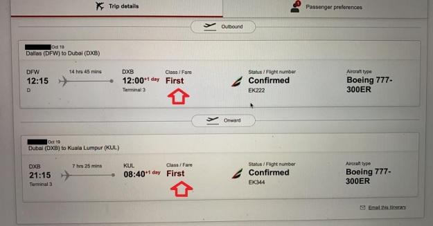 Emirates First Class Dallas Dubai Kuala Lumpur