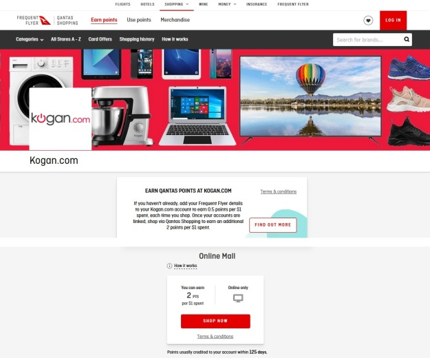 Qantas FREE Points Shopping Kogan