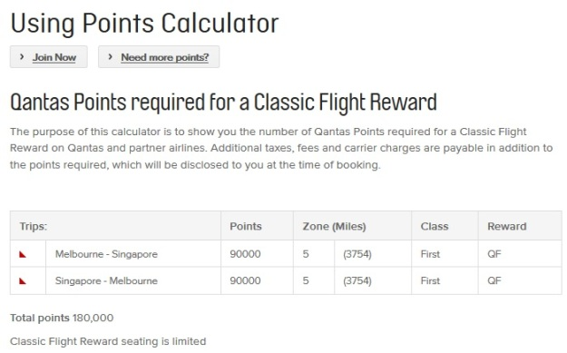 Qantas Points First Class Melbourne Singapore