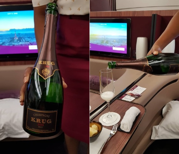 Qatar Airways First Class Airbus A380 Doha to Paris 7