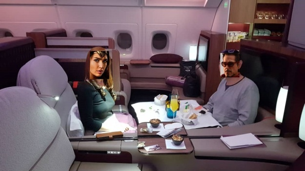 Qatar Airways First Class Airbus A380 Doha to Paris Couple Dining.jpg