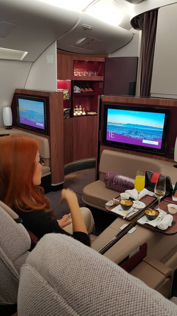 Qatar Airways First Class Airbus A380 Doha to Paris Seat.jpg