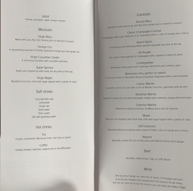 Emirate NEW First Class Boeing 777 Food Menu 2