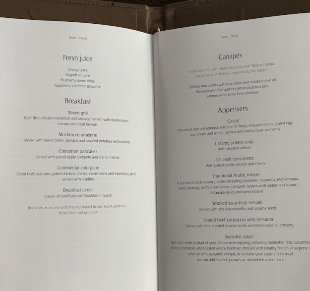 Emirate NEW First Class Boeing 777 Food Menu 4