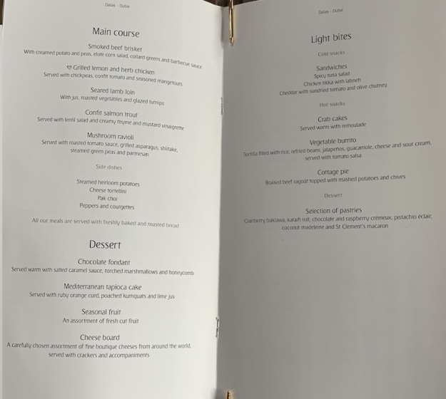 Emirate NEW First Class Boeing 777 Food Menu 5