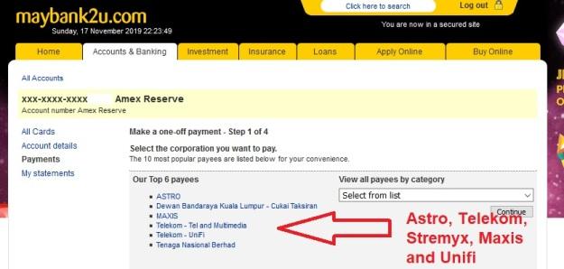 M2U Payment Unifi or Telekom 3