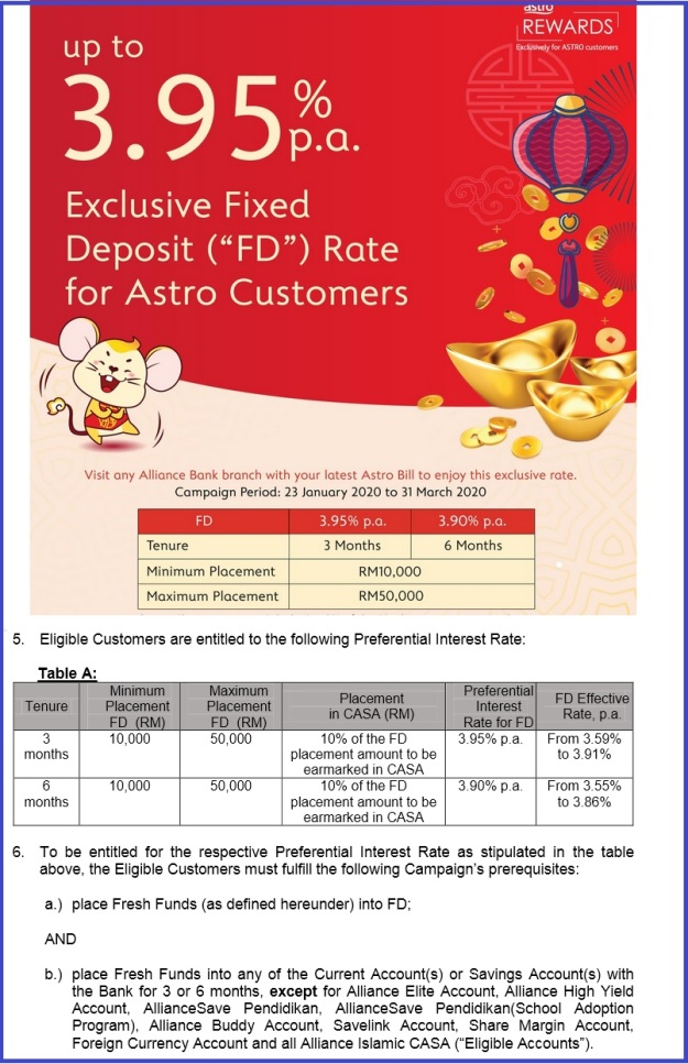 Alliance Bank Fixed Deposit Promo for Astro February March 2020