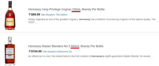 Hennessy VSOP price versus Master Blender Limited edition