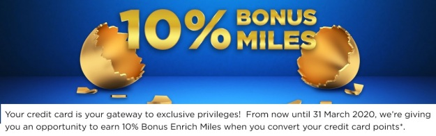 Enrich Miles 10 percent promotion with credit cards 2020